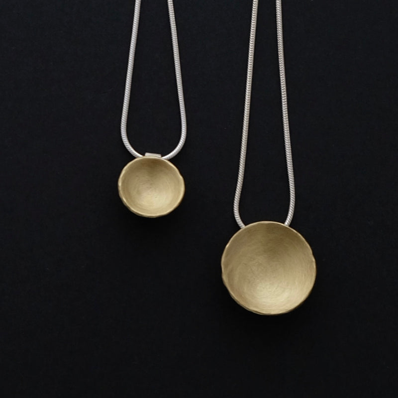 Brass concave pendants with sterling silver snake chain