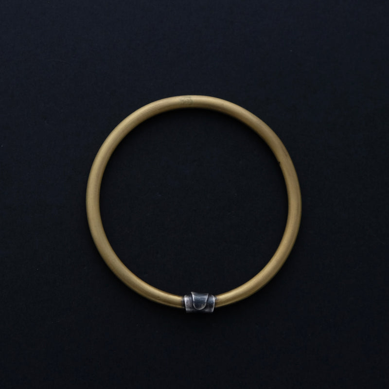 Brass and sterling silver bangle