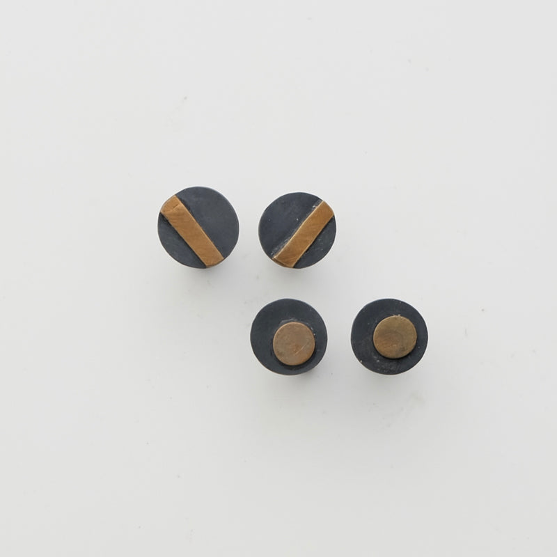 Sterling silver and brass studs