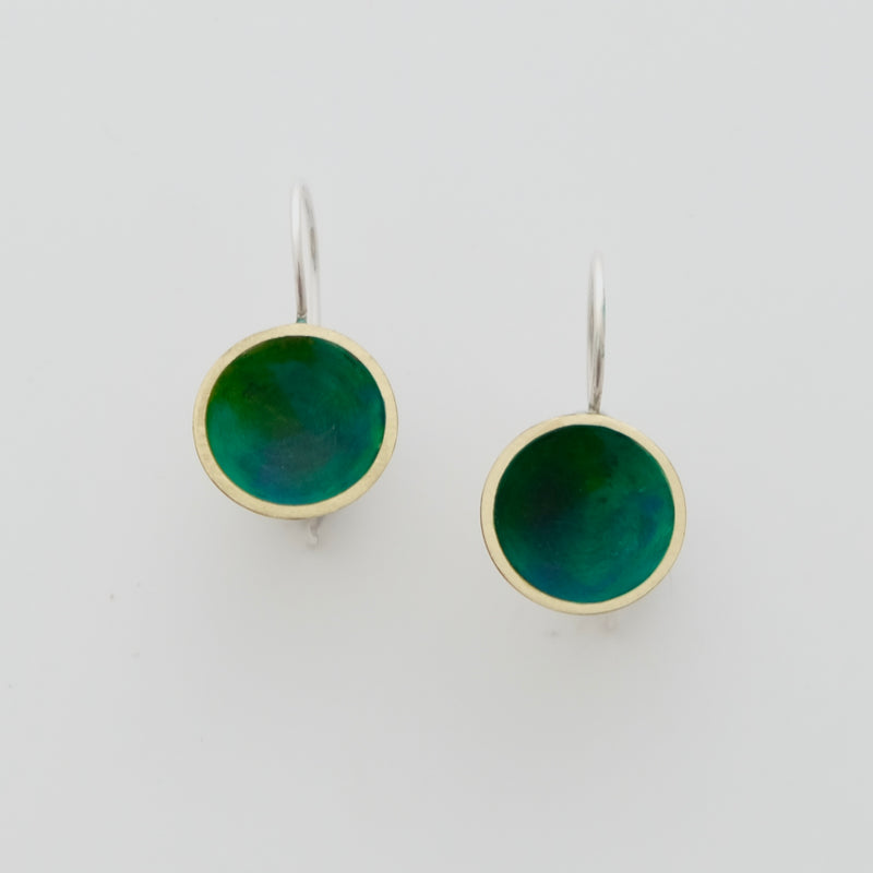Brass earrings with enamel and sterling silver ear wires