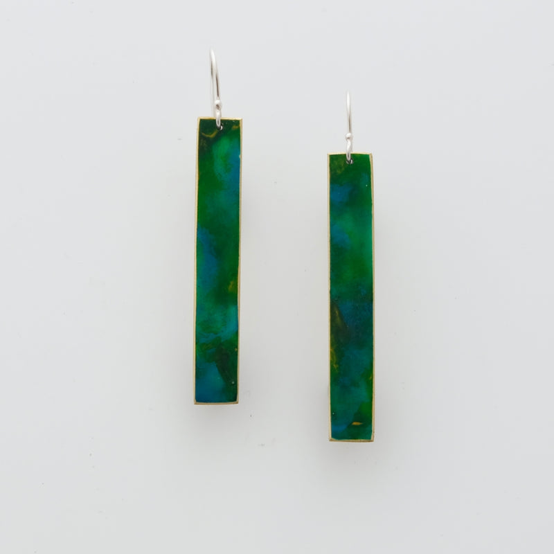 Brass and enamel earrings with sterling silver ear wires. Length 5cm
