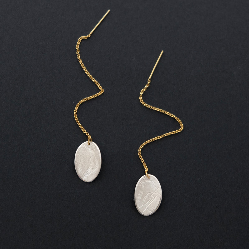 Sterling silver 14ct gold plated thread thru earrings