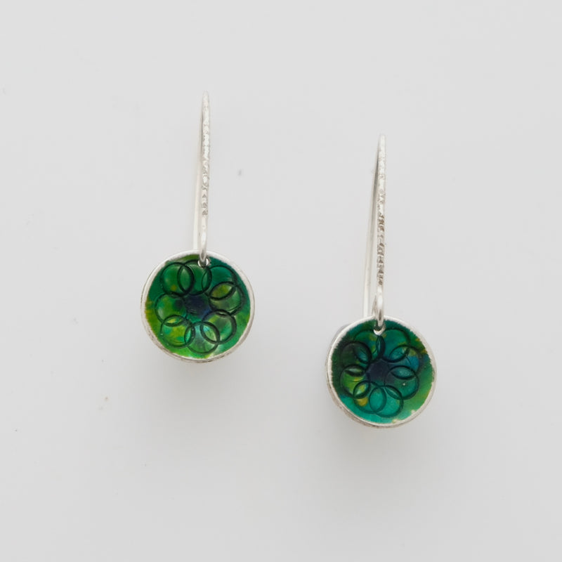 Sterling silver and enamel earrings