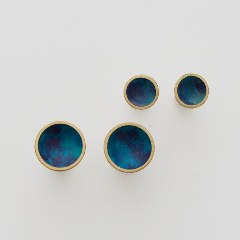 Heat cured enamel studs blue