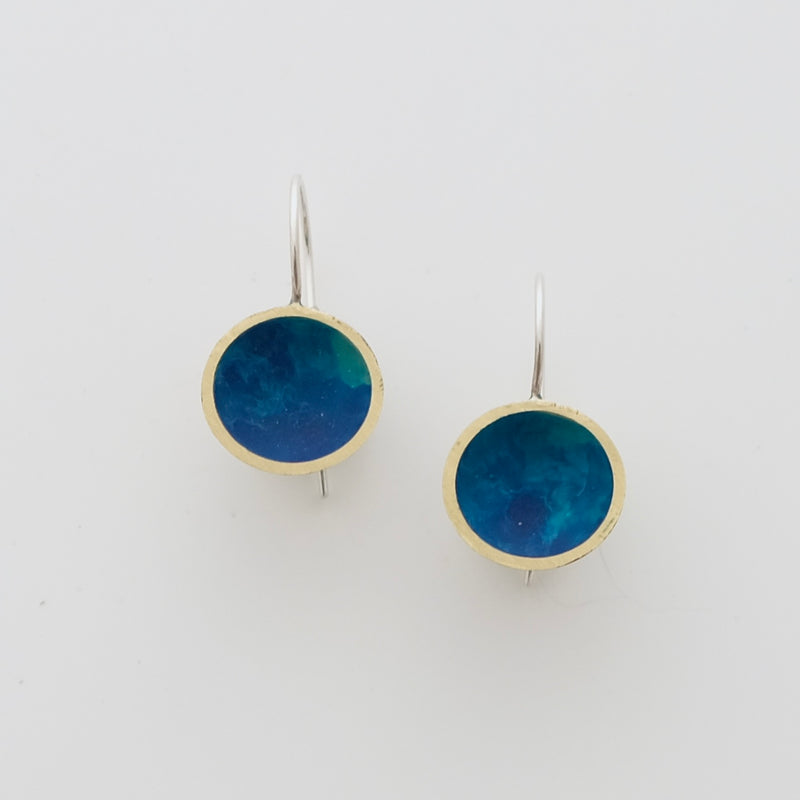 Blue heat cured enamel drops with sterling silver ears wires