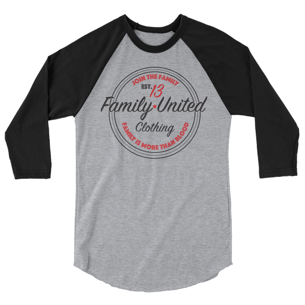 Join The Family Baseball Raglan Heather Grey/Black