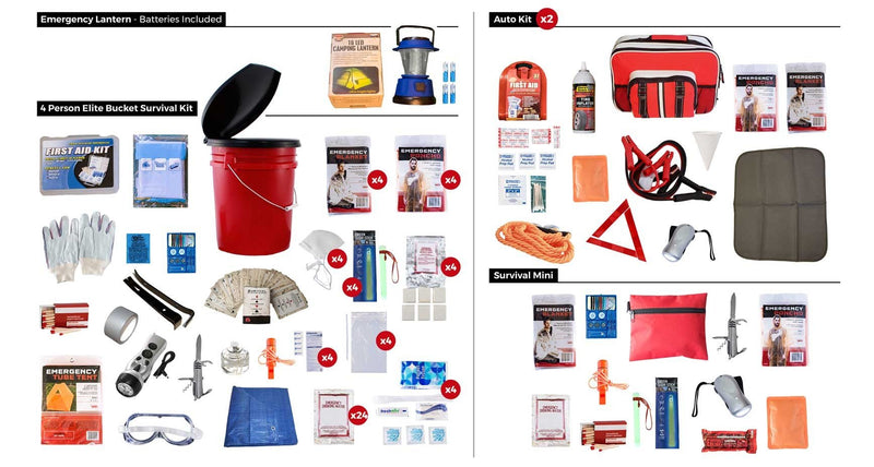 1-4 Person Food & Water Elite Bucket Survival Kit 72+ Hours