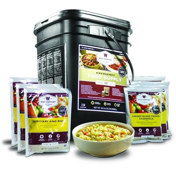 Emergency preparedness survival bucket of entree foods with 25 year shelf life.