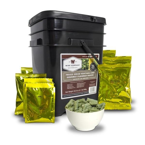 Long term food 120 Serving Wise vegetable food buckets with 25 year shelf life.