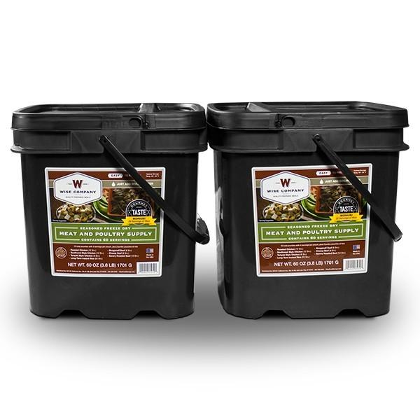 Long term emergency food 120-serving Wise meat survival bucket with 20 year shelf life.