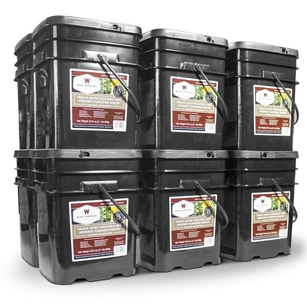 Emergency preparedness survival food buckets with 1440 servings vegetables sealed and freeze dried for long term storage 25 years.