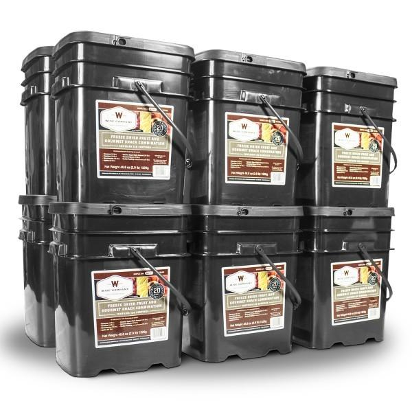 Emergency preparedness survival food kit with 1440 servings of variety of fruit freeze dried with 25 year shelf life.