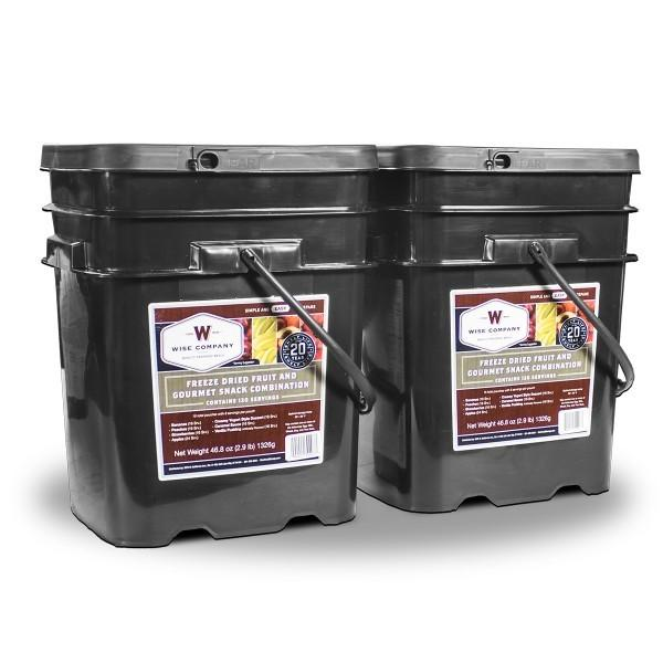 Emergency preparedness fruit survival food buckets with 25 year shelf life.