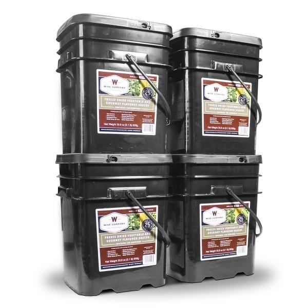480 servings of Wise vegetable food packed inside survival buckets for long term with 25 year shelf life.