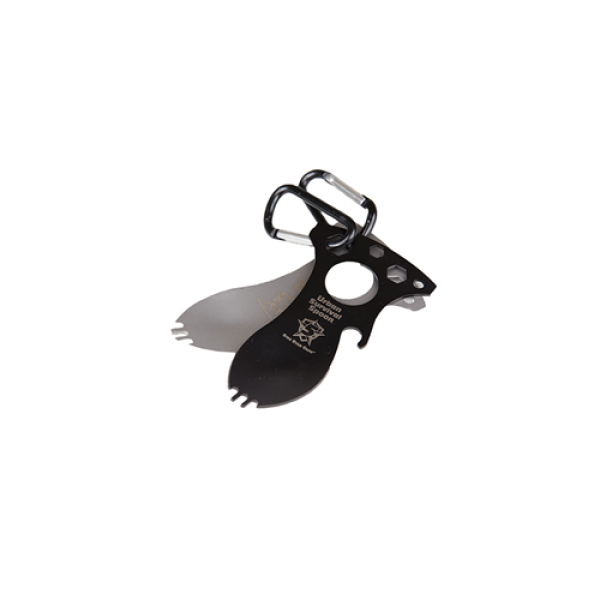 Five Star Multi-Purpose Black Survival Spoon Multiple tools in one: Spoon, Fork and Handy Bottle Opener.