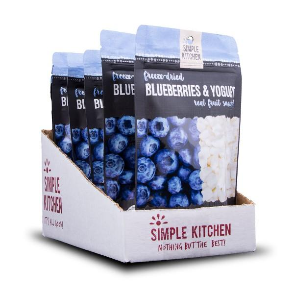 Long term food storage This item includes 6 pouches of Simple Kitchen's freeze-dried blueberries and yogurt.