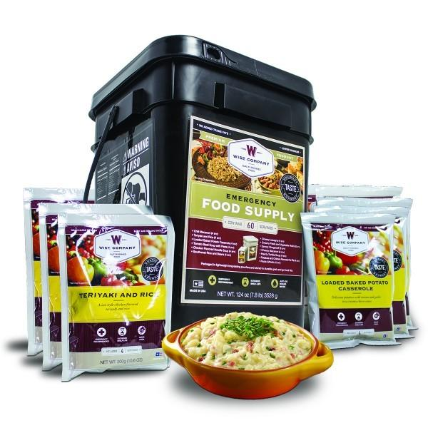 Emergency preparedness 60-serving entree grab n-go food bucket with 25 year shelf life.