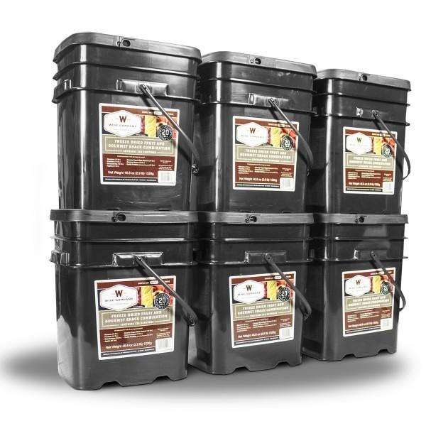 Emergency survival freeze dried fruit food buckets  with 25 year shelf life.