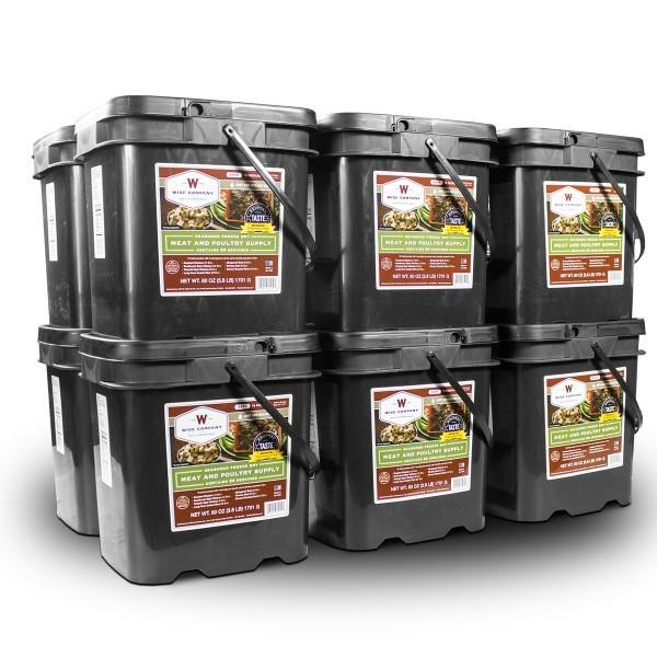 720 Serving Freeze Dried Wise Meat Bucket come packaged in Mylar pouches and are stored in a grab and go plastic container.