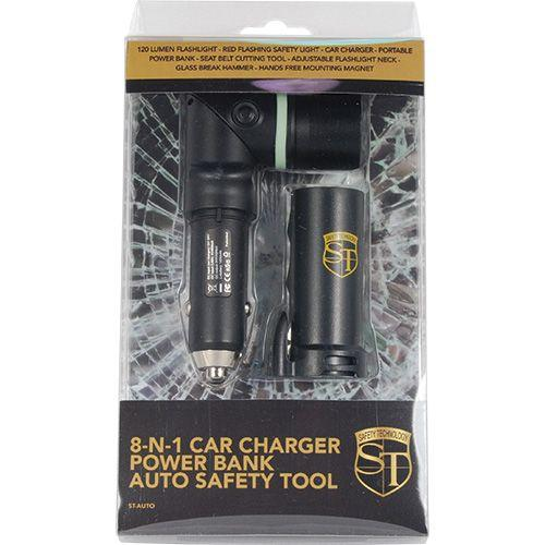 Safety Technology manufacturer packaging for the 8 in 1 car safety tool.