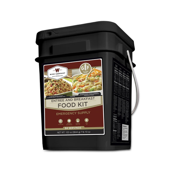 Gluten free emergency survival food bucket with 84 servings.