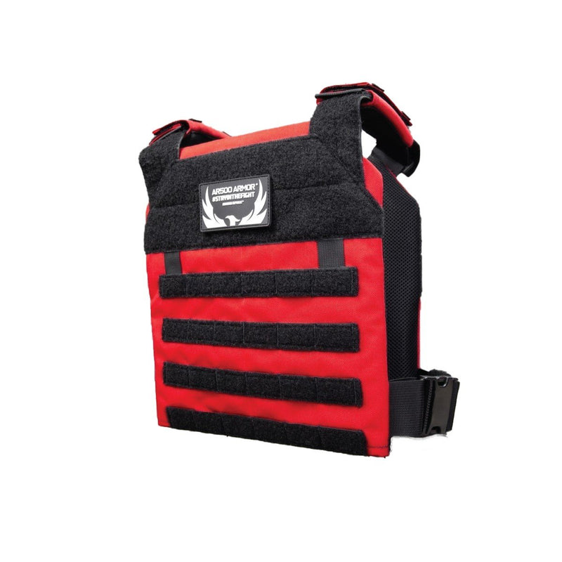 The AR500 Armor Guardian plate carrier in the color red.