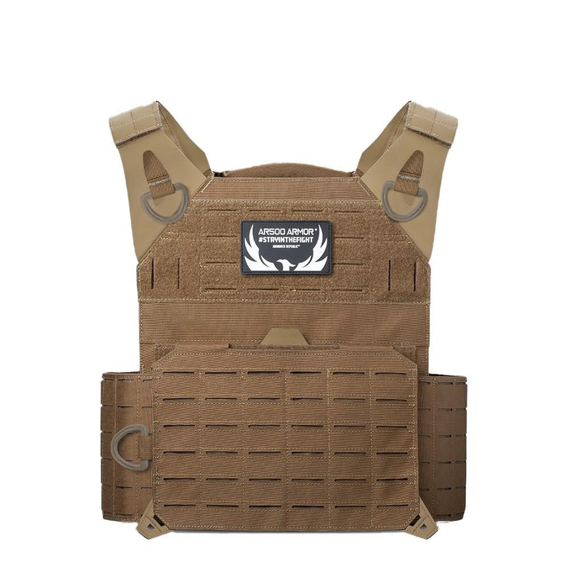 The AR500 Invictus ballistic plate carrier color coyote brown.