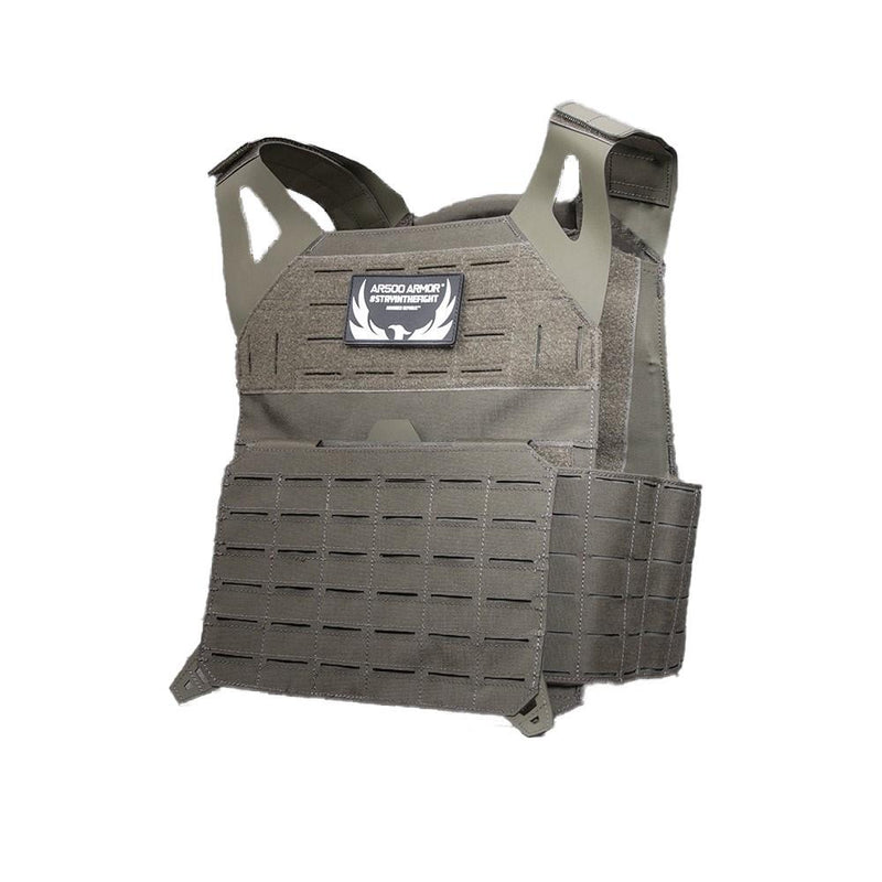 The AR500 Invictus ballistic plate carrier in the color green.