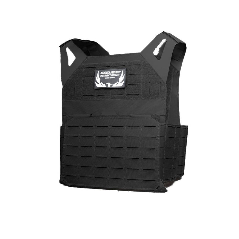 The AR500 Invictus ballistic plate carrier in the color black.
