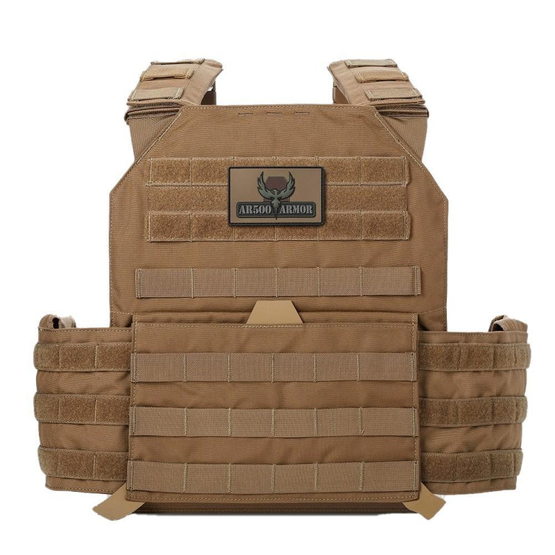 Ar500 Armor Testudo modular plate carrier in the color coyote brown.