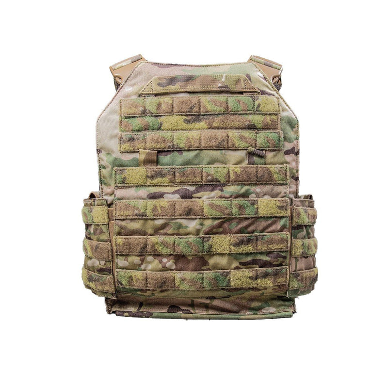 The AR500 Testudo plate carrier image shows the backside view green camo color and design.