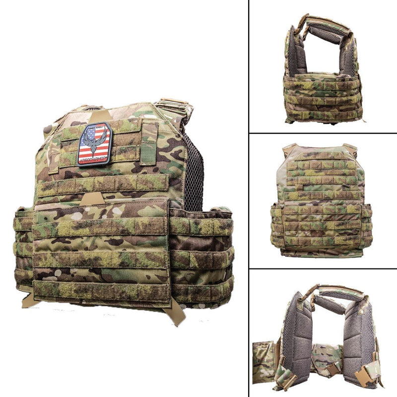 The AR500 Testudo plate carrier shown in images different views.