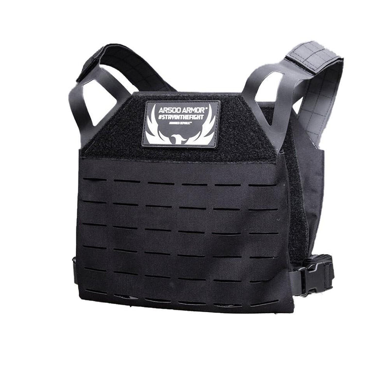 The AR500 Armor Freeman plate carrier with all the protection of NIJ compliant Level III plates shown in color black.