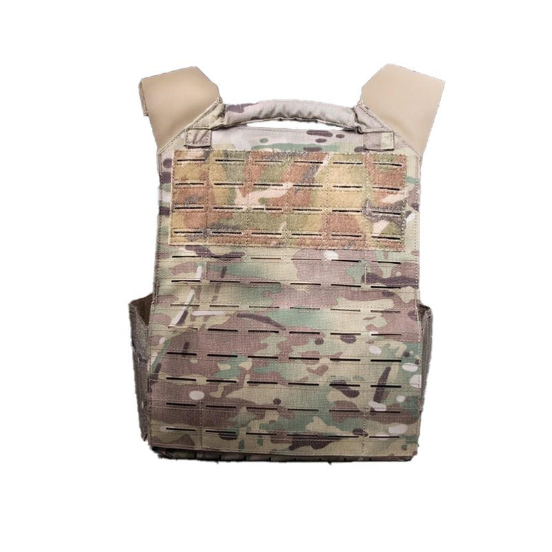 The AR500 Invictus ballistic plate carrier color and design multi cam back side view shown in the image.