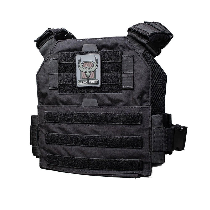 The AR500 Armor Veritas modular plate carrier shown in the color of black.
