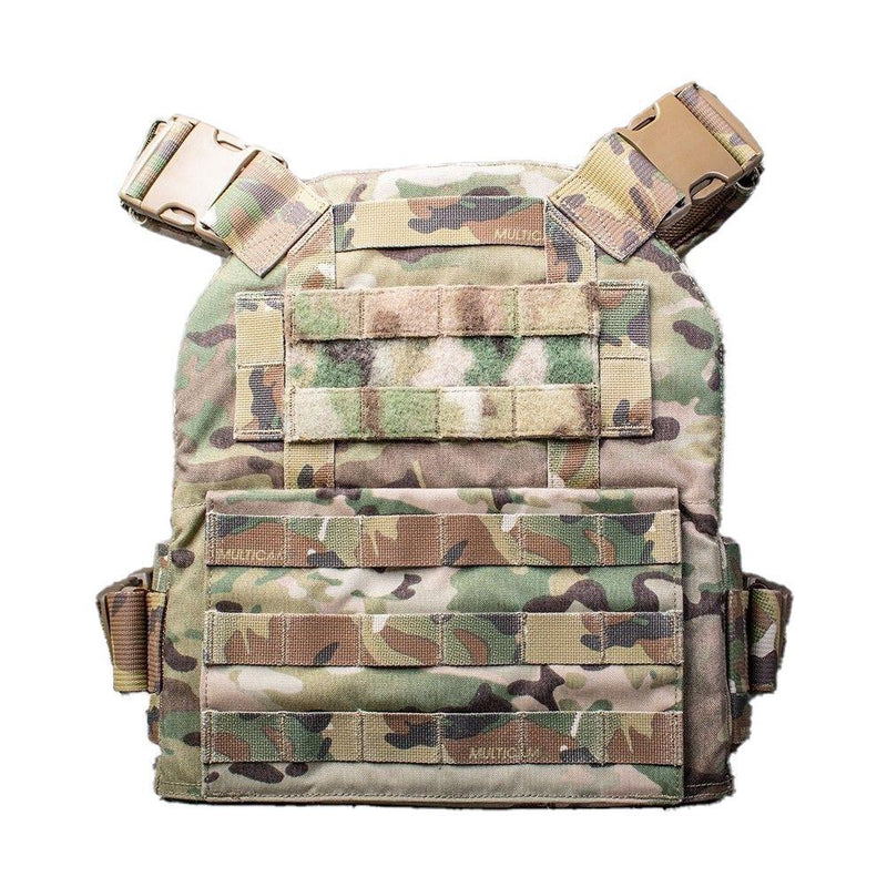 The AR500 Armor Veritas modular plate carrier shown in the multi-camo design color view of the back side.