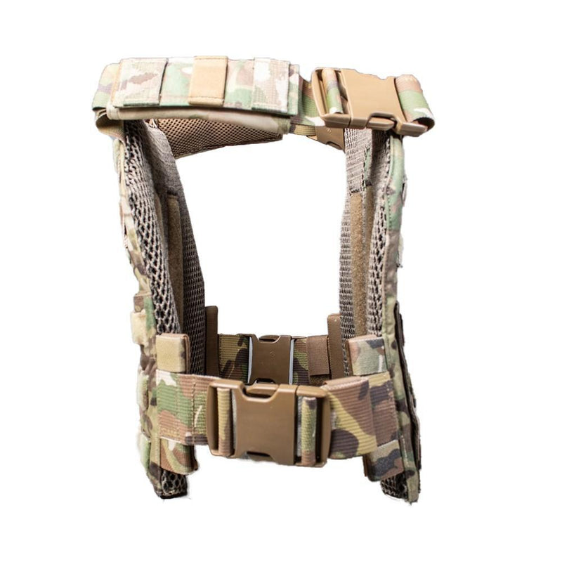 The AR500 Armor Veritas modular plate carrier shown in the multi-camo design color view of the side.