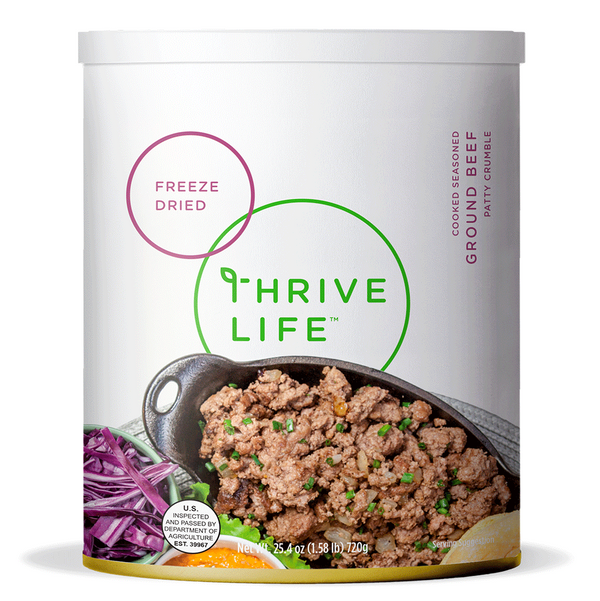 Long term ground beef survival food with 25 year shelf life.
