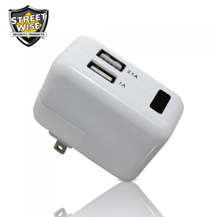 Streetwise Block Charger Hidden Camera DVR Inside this functional USB block charger is a 1080p HD enabled surveillance camera that can record hours of hidden footage.