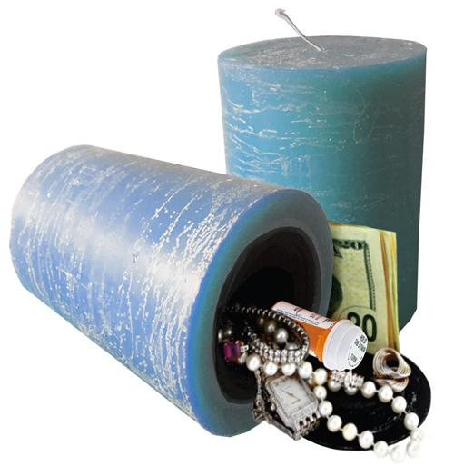 Blue color working candle with secret hidden compartment you can safely hide valuables inside.