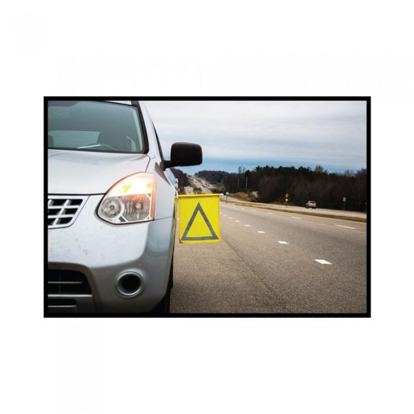 Car safety bright yellow flag tool so others will see you during a car breakdown.