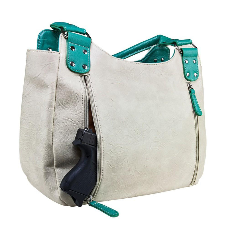 Hobo Bag Off White Seafoam Trim