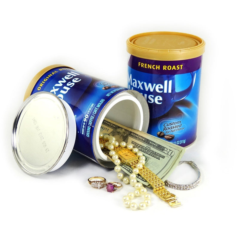 Maxwell House coffee can that has a hidden compartment for use as a diversion safe for safely hiding valuables inside.