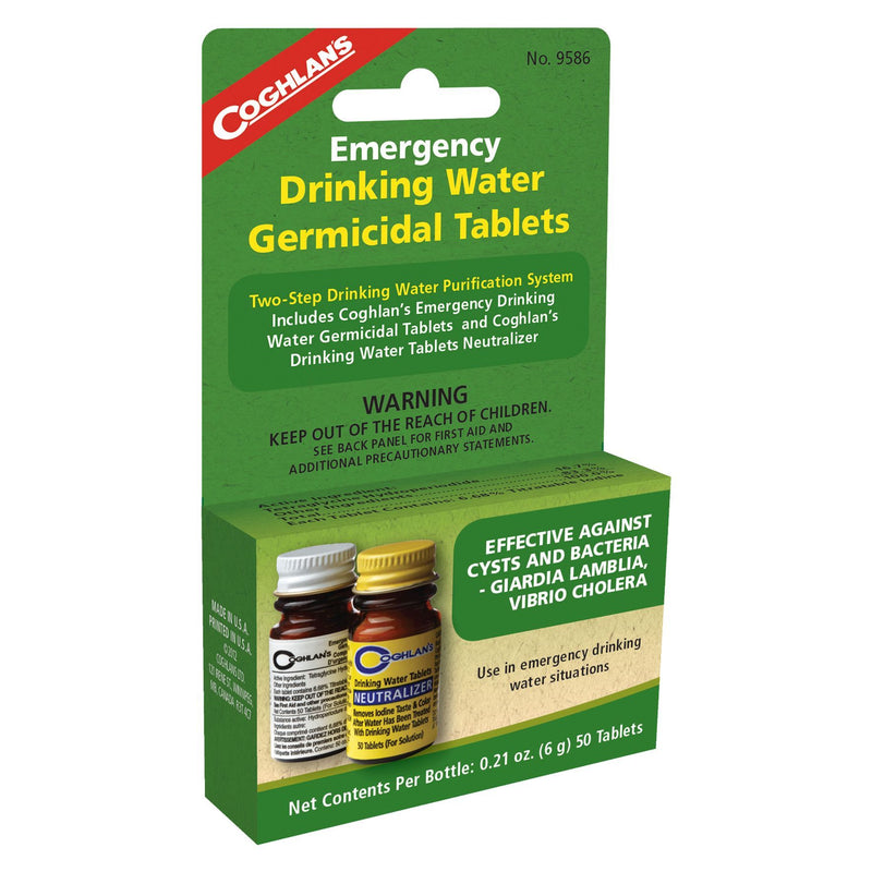 Emergency Drinking Water Germicidal Tablets and Neutralizer are intended for emergency disinfection of drinking water.