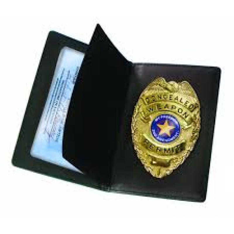 Concealed carry badge and wallet for women and men to use for their CWP permits.