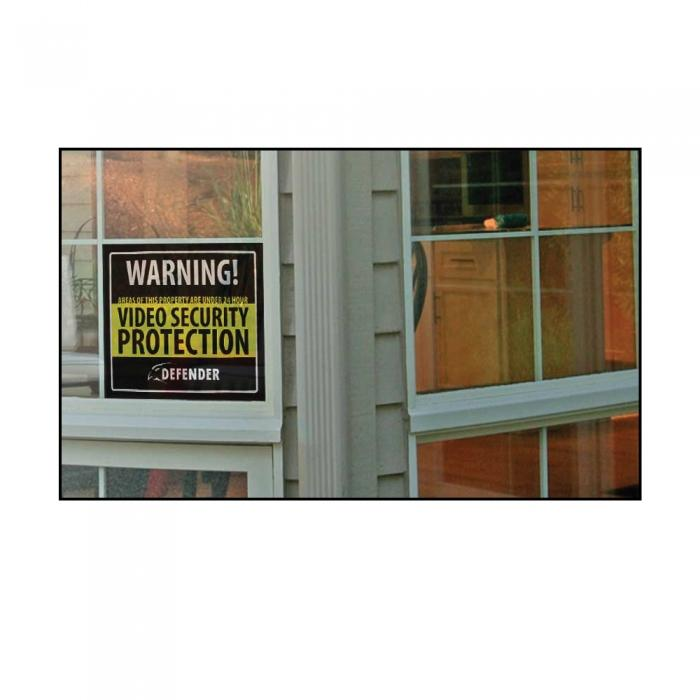 Defender Indoor Video Security System Warning Sign w/Stickers