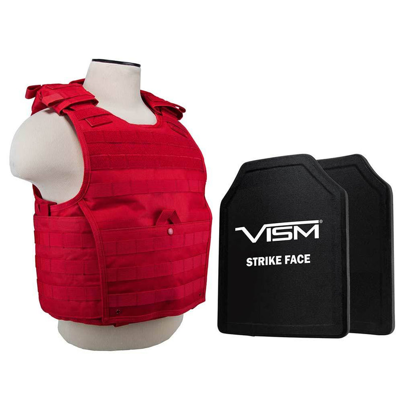 The Vism from NcStar expert plate red carrier has MOLLE webbing and level 3A ballistic plate protection.