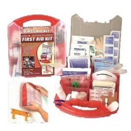 This comprehensive first aid kit is packaged in a red plastic case that comes with a detachable wall mount, which allows you to put it in a convenient location for easy access in a time of need
