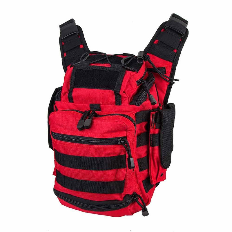 First responder bag has plenty of space shown at an angle view to see both front and sides.