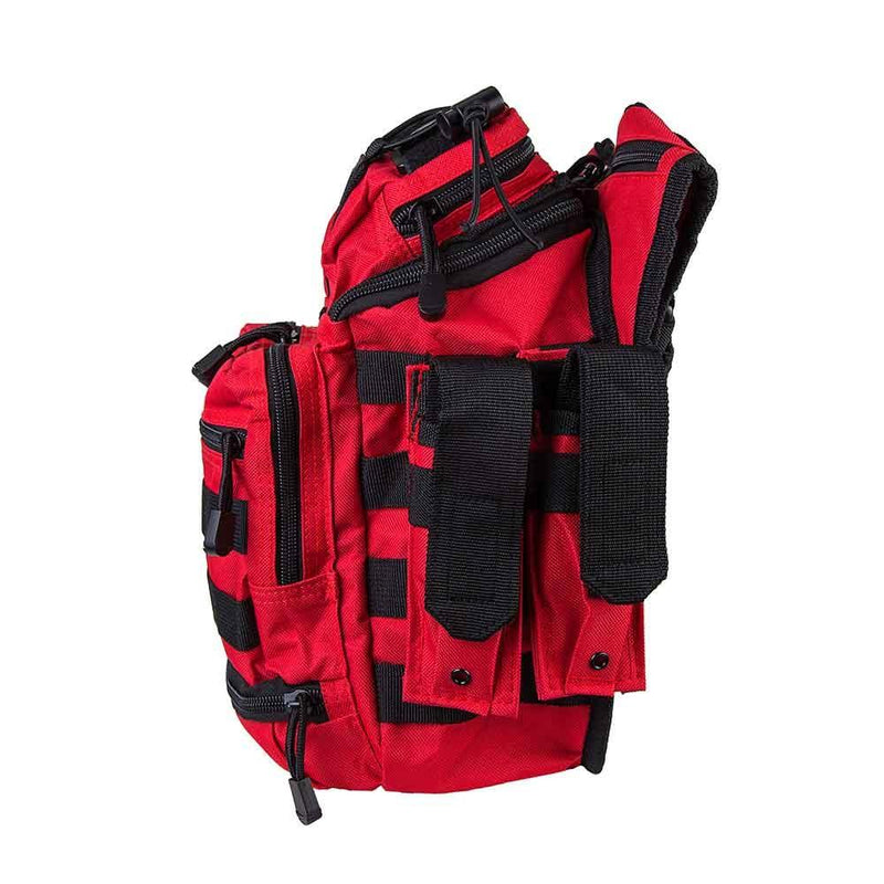 First responder bag shown with side view of the many pockets on the left side.